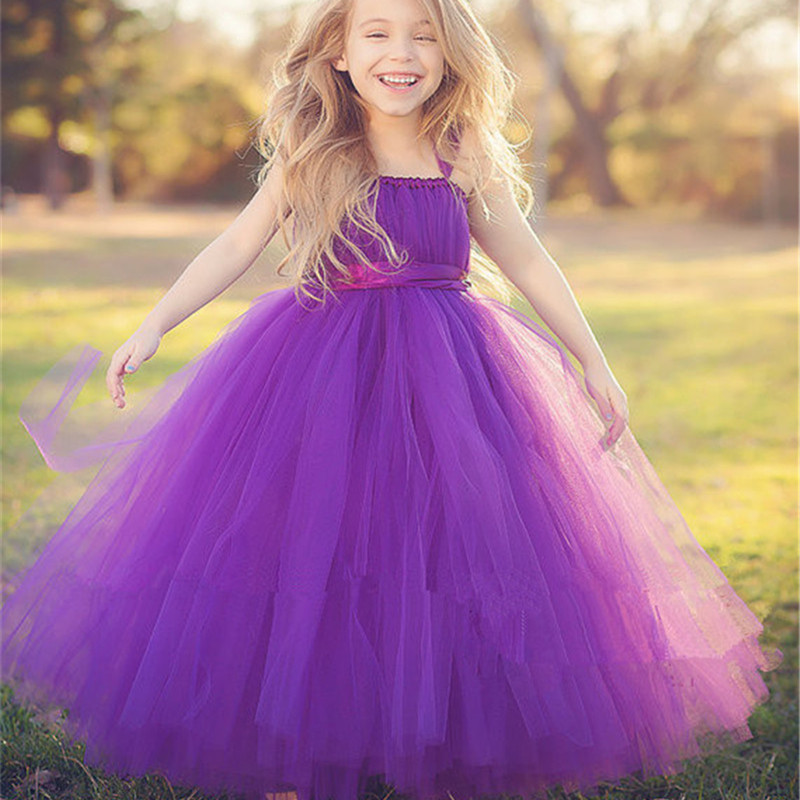 New Princess Tutu Purple Gray Bridesmaid Flower Girl Wedding Dress Ball Gown Baby Kids Birthday Evening Prom Party Tulle Dresses<br>