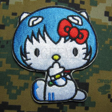 Hello Kitty EVA AYANAMI Kitty Military Tactics Morale Embroidery patch Badges B2735