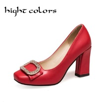 Fashion Women Pumps Red White Shallow Mouth Shoes Elegant Ladies Thick High Heel Sandals Shoes Woman Dress Shoes Wedding Shoes