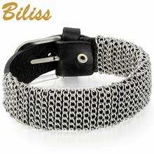 Cool Mens Metal Chain Leather Bracelet 21mm Wide Wrap Bangle 10.6 inch Buckle Strap Mens Boy gift pulseira de couro(China)