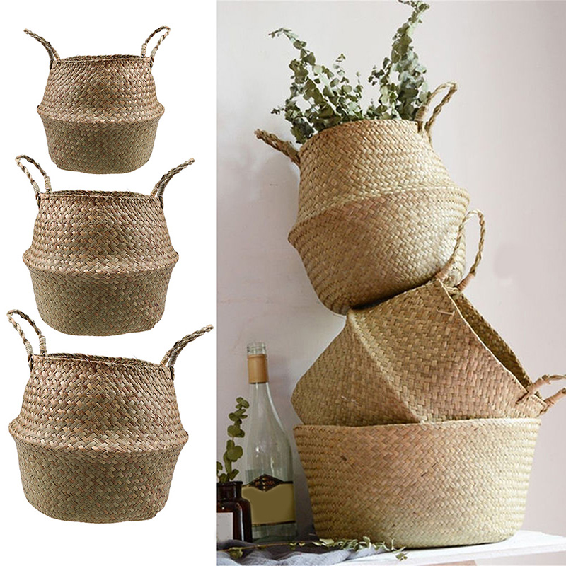 S/M/L Seagrass Wickerwork Basket Rattan Foldable Hanging Flower Pot Planter Woven Dirty Laundry Hamper Storage Basket Home Decor