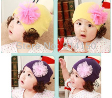 Baby Accessories Girl Lace Flower Caps Children Soft Springy Beanies Hats Toddler Wig Ornament Knitted Cap 1pcs