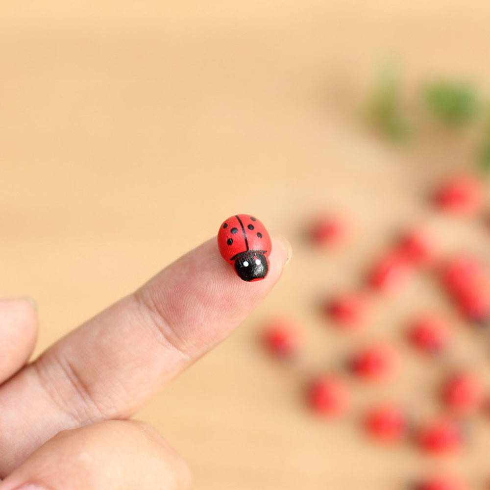 10pcs/lot Mini Cabochon Ladybug Fairy Garden Miniatures Garden Ornament Decoration Micro Landscape Bonsai Figurine Resin Crafts(China)