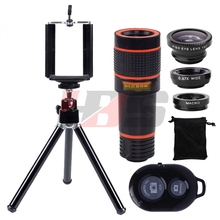 Buy Phone Lens 12X Telephoto Zoom Lentes Telescope Fisheye Wide Angle Macro Lenses Microscope Tripod Holder Bluetooth Shutter for $16.95 in AliExpress store