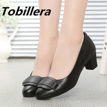 Tobillera Classic Black Ladies Medium Heels Genuine Leather Pumps Round Toe Fashion Square Toe Upper Women Slip On Dress Shoes