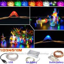 1M-10M LED String Light USB Battery Powered Cooper Wire Fairy Christmas Lights Multi-color Outdoor Indoor Decoration Strip Lamp