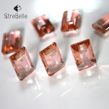 Fashion glod champagne color 8x14mm no hole fancy cube glass crystal stone accessories for fashion DIY
