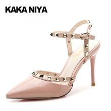 High Heels 9cm 4 Inch Scarpin Patent Leather Shoes Pink 34 Small Size Women Party Pumps Rivet Pointed Toe Slingback Strap(China)