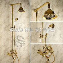 free shipping brass copper classic gold big shower and bath set showerpipe shower system two handle double handle