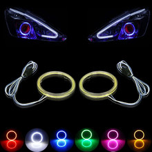 Fastcar 2X COB Angel Eyes Auto Halo Rings COB 60mm 70mm 80mm 90mm 100mm Angel Eye Car Headlight Motorcycle With Lampshades(China)