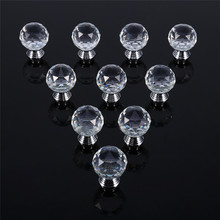 10PCS 20/30mm Clear Crystal Glass Cabinet Drawer Cabinet Knobs Wardrobe Door Pull Cupboard Handle For kitchen Wardrobe Knob