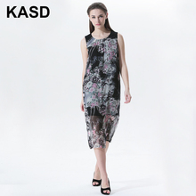 KASD Brand Beautiful Long Floral Dress Real Silk Summer Sleeveless Dress Holiday Beach Painting Ladies Casual Dress Breathable