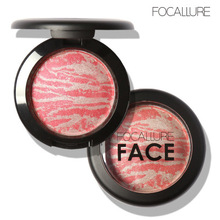 FOCALLURE Natural Face Pressed Blush Makeup Baked Blush Palette Baked Cheek 6 Colors Cosmetic Face Shadow 6 Colors(China)
