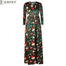 LERFEY Autumn Winter Dress Women Christmas 3D Tree Gift Print Dress Long Santa Snowman Casual Party Loose Dresses Vestidos Mujer(China)