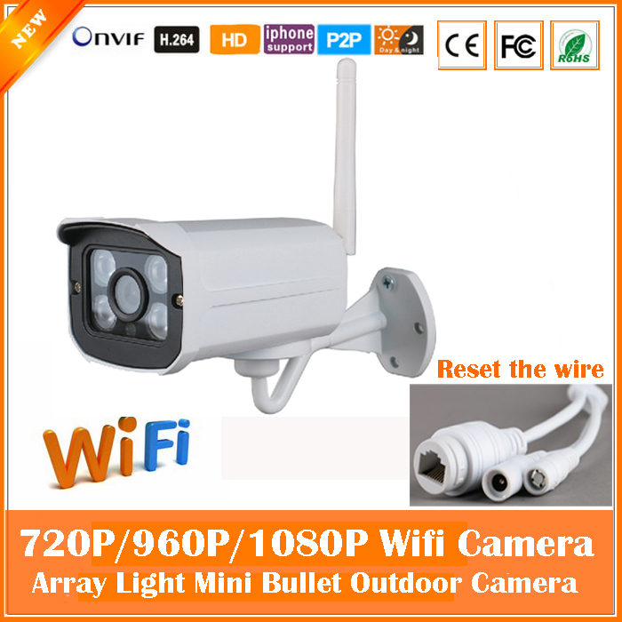 2.0mp HD Bullet IP Camera Wifi 1080P Outdoor Waterproof Securveillance Security CCTV Night Vision Mini White Freeshipping Hot <br>