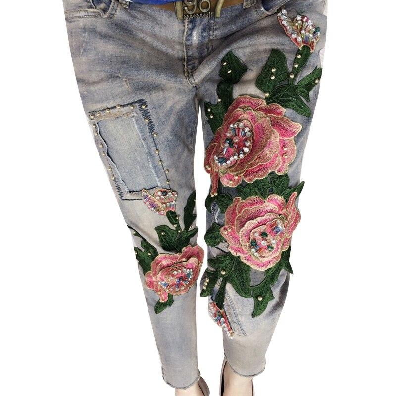 Women Fashion 3D Flower Stretch Jeans Casual Slim Skinny Pencil Pants Denim Beading Elastic Trousers Jeans  C036Îäåæäà è àêñåññóàðû<br><br>