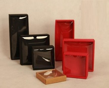 3 colors paper display box with clear window,50pieces square cardboard box ,the idea of wedding gift