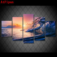 AtFipan Artwork Modular Wall Paintings 5 Sets The Ocean Wave Blue Sea Sky Modern Oil Painting on Canvas Pictures For Living Room
