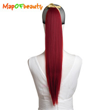 MapofBeauty 55cm red white blue green 18 Purecolors long Straight Women's Ladies Girls Fake Ponytail Synthetic Hair Extensions