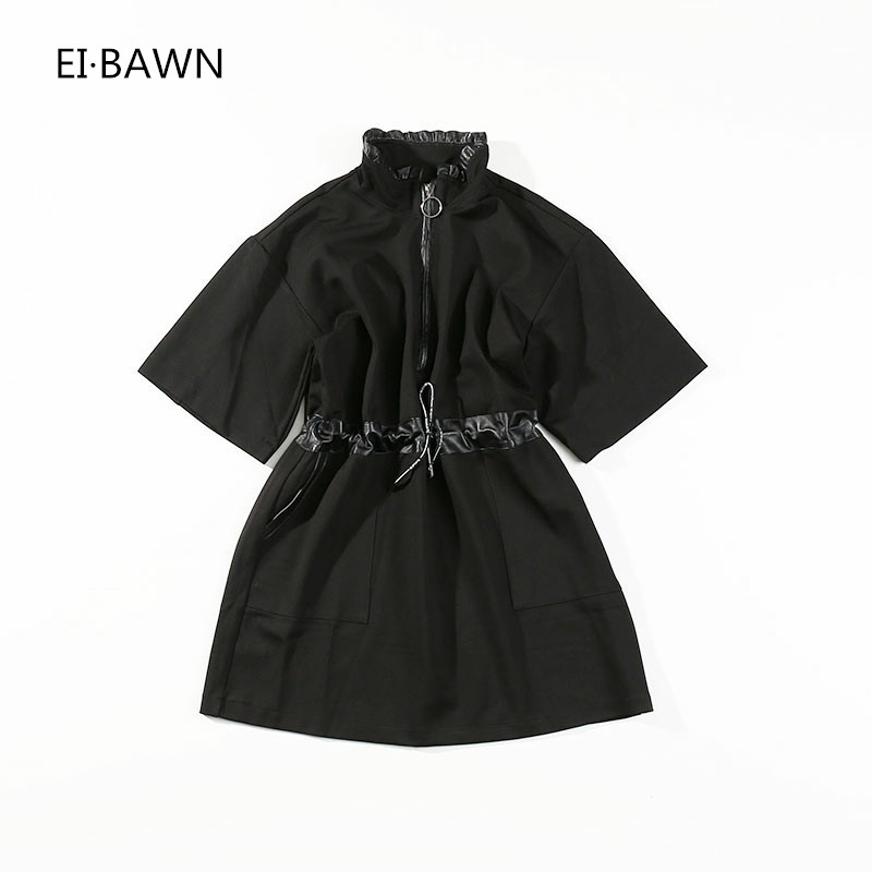 2018 New Spring dress women long sleeve shirt black leather high street high waist casual loose plus size women's dress fashion