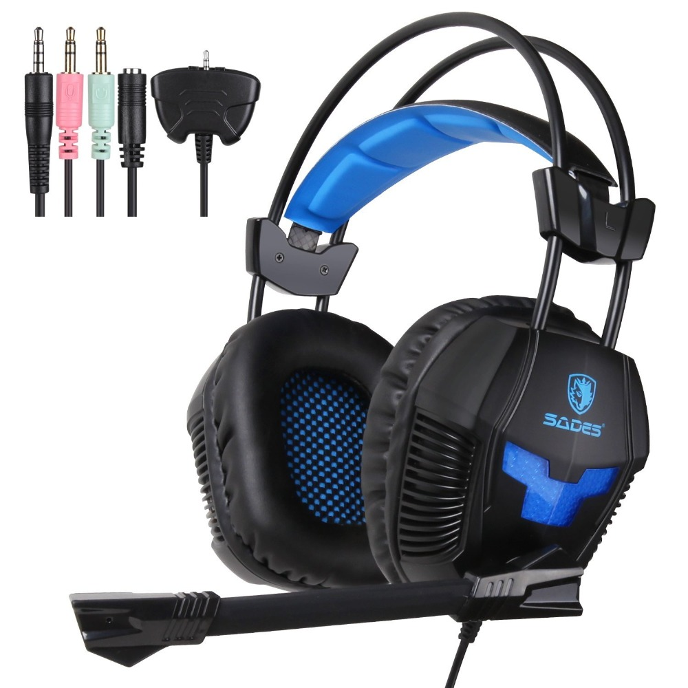 SADES SA-921 Stereo 3.5mm Jack Gaming Headphones headset with Mic for Laptop PC/MAC/PS4/XBOX ONE/Phones With Splitter Adapter<br>