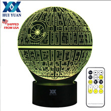 3D Illusion Star Wars Death Star Remote Control LED Desk Table Night Light 7 Color Lamp Kids Children Family Holiday Gift(China)