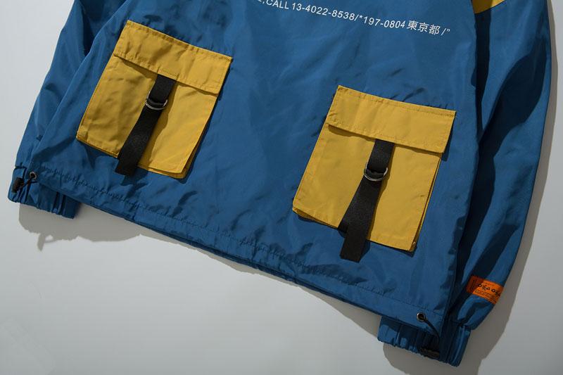 Color Block Patchwork Half Zipper Pullover Jackets 14