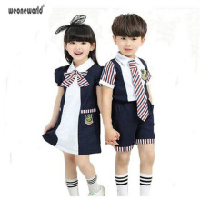WEONEWORLD New Children School Uniforms for Girls and Boys Summer Kids Stripe Bow Tie Polo Shirt + Shorts or Puff Dress Suits
