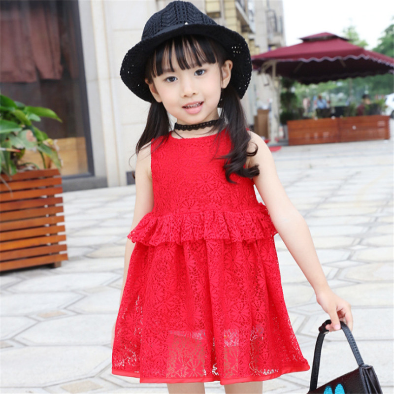 1pc Solid Lace Summer Dress For Girls New Fashion Elegant Vestidos Children Clothes Travel/Party Favor Vestido 2017 New O-Neck<br><br>Aliexpress