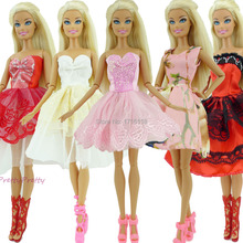 Randomly Pick Free Shipping 5 Sets Handmade Fashion Lady Outfit  Skirt Clothes For Barbie  Doll Baby ToysHs