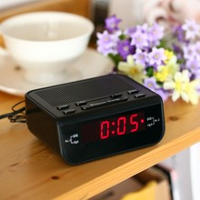 Fashion 2 in 1 Compact Digital Alarm Clock FM Radio with Dual Alarm Buzzer Snooze Sleep Function Red LED Time Display Clock(China)