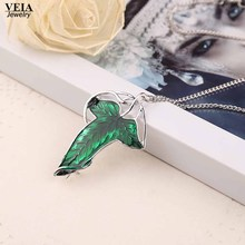Fashion The Hobbit Vintage Elf Green Leaf Necklace Broochss Pin Pendant Lord Of The R ings Necklace can dropshipping(China)