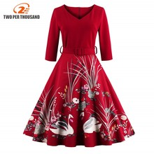 2017 Elegant Red Swan Print 50s 60s Vintage Dress V Neck 3/4 Sleeved High Waist Belts Zipper Swing Party Retro Feminino Vestidos