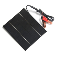 High Quality 6W 18V Solar Panel Monocrystalline Grade A Solar Cell For 12V Battery Charger With DC 5521 Bus+Crocodile Clip