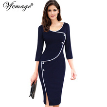 Vfemage Womens Vintage Brief Split Bottom Elegant Casual Work 3/4 Sleeve Deep O-Neck Bodycon Knee Women Office Pencil Dress 4239