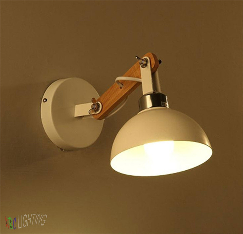 European Vintage Wall Light Creative Retro Sconce white lampshade wood arm Vanity Light Living Room Bedroom Vintage Wall lamps<br><br>Aliexpress