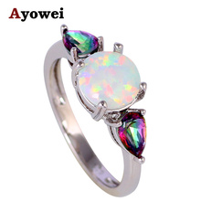 Glittering Rings Rainbow Mystic Crystal White Fire Opal Silver Stamped Fashion Jewelry Ring USA Sz #6#7#8#9#10 OR753A