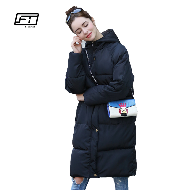 Fitaylor Winter Women Cotton Wadded Coats Loose Fit Plus Size Hooded Parkas Medium Long Snow Overcoats Padded Warm QuiltÎäåæäà è àêñåññóàðû<br><br>