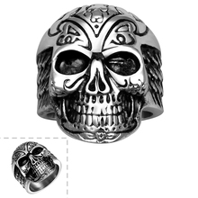 Tibet Skeleton Skull Nice Pattern  Finger Rings Jewellery Fashion Tibetan Gothic Rock Punk Party Fine Jewelry Gifts For Men Boys