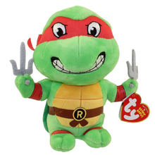 "Ty Beanie Babies 6"" 15cm Ninja Turtles RAPHAEL Mask Red Plush Stuffed Animal Collectible Doll Toy"