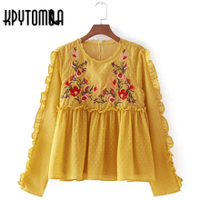 Vintage Sweet Floral Embroidery Pleated Ruffle Blouse Shirts Women 2017 New Fashion Lace Yellow Dots Blouses Casual Femme blusas(China)