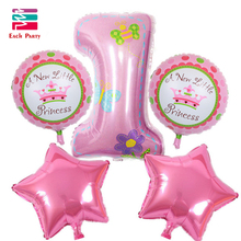 Happy Birthday Decoration Number Balloon Pink Blue Baloon Helium Foil Balloons Baby 1st Birthday Ballons Globos Air Balloons Set(China)