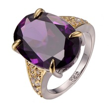 Purple Crystal Zircon 925 sterling silver White Crystal Zircon Best Quality Ring Size 6 7 8 9 10 F1296