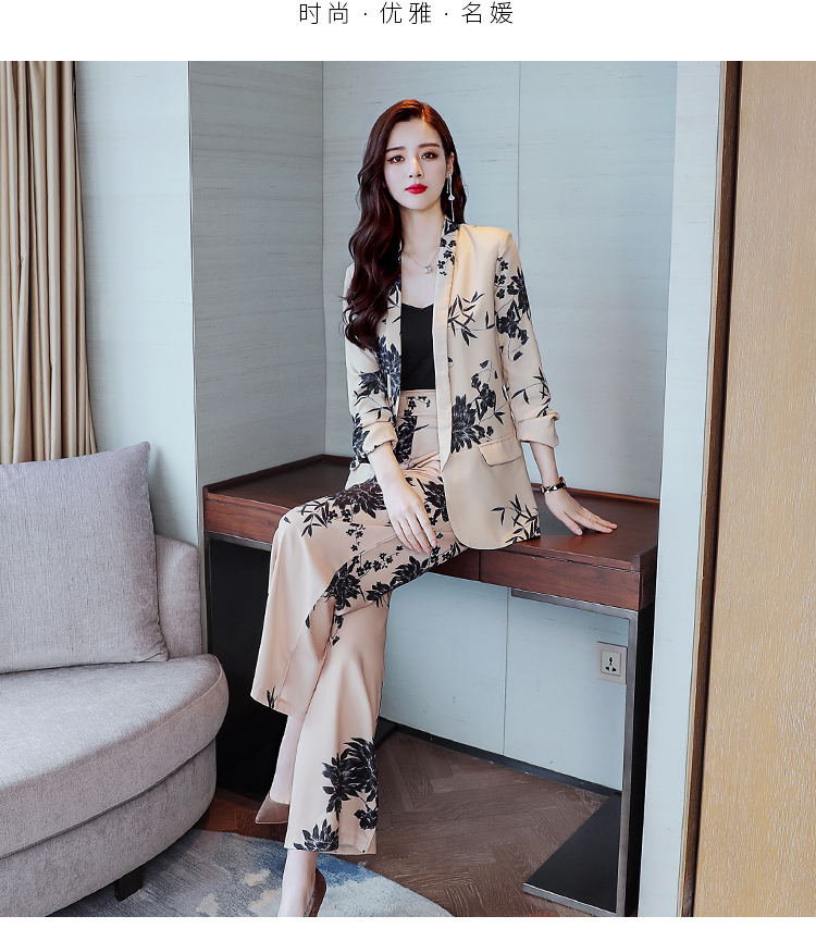 YASUGUOJI New 2019 Spring Fashion Floral Print Pants Suits Elegant Woman Wide-leg Trouser Suits Set 2 Pieces Pantsuit Women 19 Online shopping Bangladesh