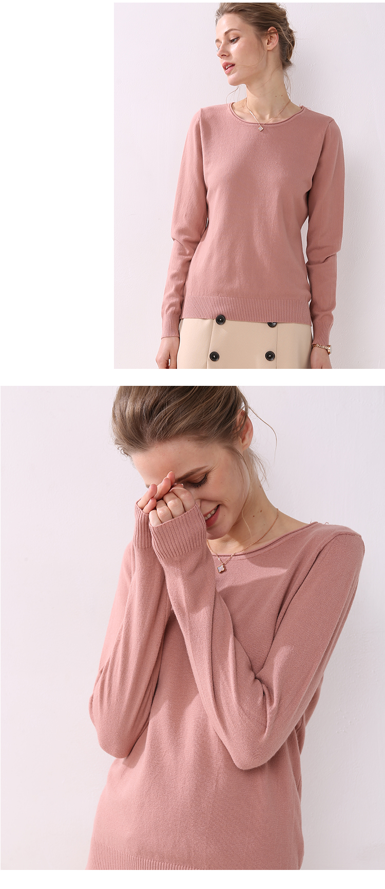 Women knitting sweater long sleeves curled O-neck collar female Short Casual Solid fashion thin pullover Ladies winter sweaters 19