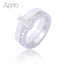 A&N Women's Rings With Princess Crystal Stone Fashion Band Charm Ceramic Rings Simple White Stainless Steel New Designer Rings