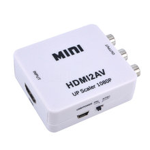 Mini HD 1080P HDMI to AV Adapter Support HDMI to 3RCA AV/CVSB L/R Video Converter Box Composite Connector for TV DVD