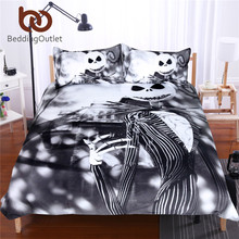 BeddingOutlet Black and White Bedding Set Nightmare Before Christmas Cool Printed Bed Linen Soft Duvet Cover with Pillow Case(China)