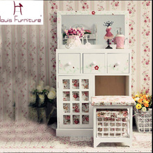 European countryside style bedroom furniture wooden girls dresser dressing table with mirror vanity set(China)
