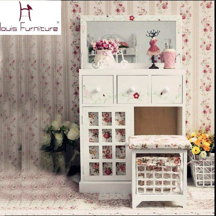 estilo campo europeo muebles de dormitorio de madera de las muchachas tocador tocador con espejo sistema de la vanidad